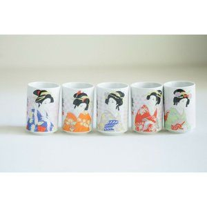 Set of Five Geisha Print Small Sake or Tea Cups